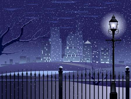 Cityscape winter night Illustration