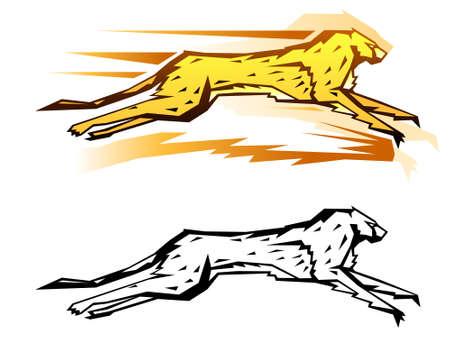 두 가지 색 구성표의 그래픽 치타 그림