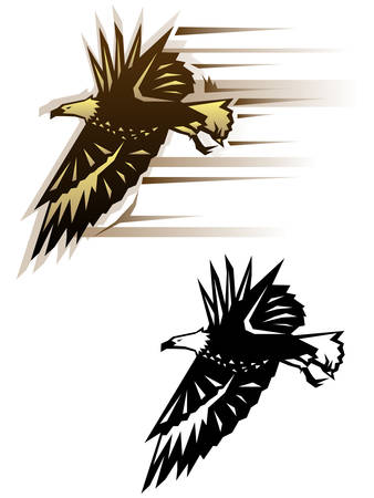 Graphic eagle illustration in two color schemes