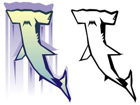 Graphic hammerhead shark illustration
