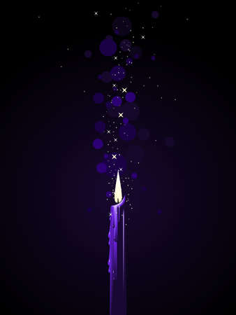 Purple candle magic Vector