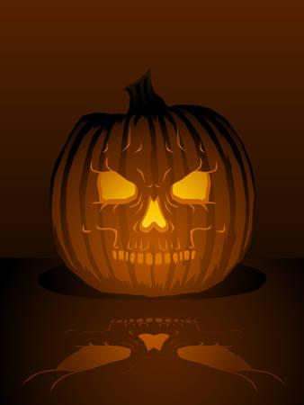 Skull jack-o-lantern illustration Vector