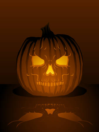 Skull jack-o-lantern illustration Stock Vector - 5319336