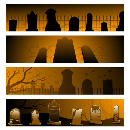Horizontal Halloween banners Vector
