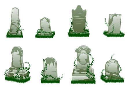Isolated tombstone illustrations