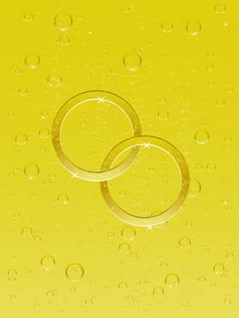 シャンパンと結婚指輪  イラスト・ベクター素材