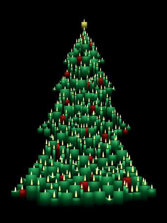 Candle Christmas tree 向量圖像