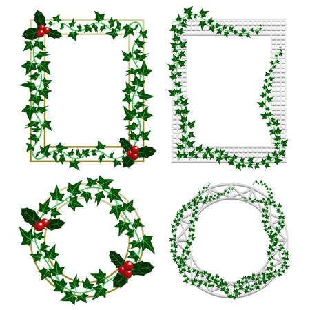 Holly and ivy frames Vector