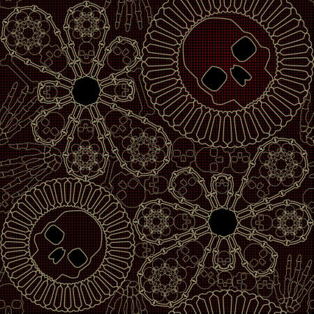 Bone lace seamless pattern Vettoriali