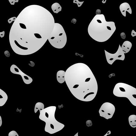 Wit op zwart naadloze achtergrond maskers  Stock Illustratie