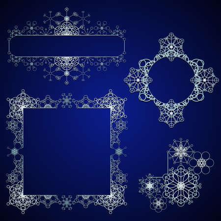 Sneeuwvlok ontwerp elementen Stock Illustratie