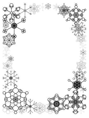 Frame of retro snowflakes - black Stock Illustratie