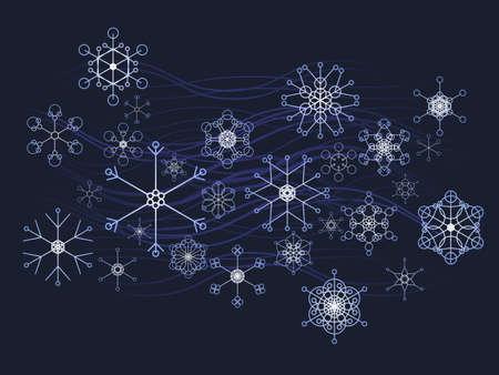 冬の雪の結晶の背景