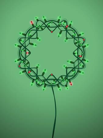 Christmas light wreath Ilustrace
