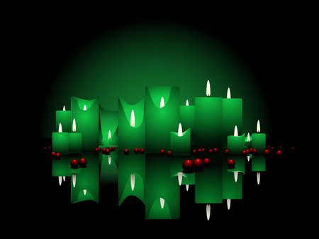 Christmas candles and beads Ilustrace