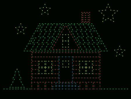 House of Christmas lights Vector