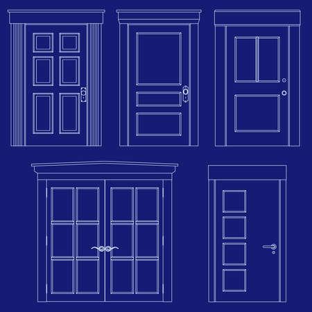 Blauwdruk deur illustraties Stock Illustratie