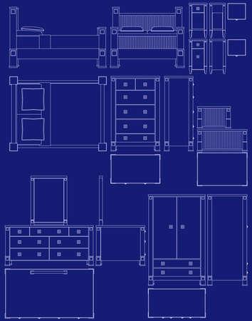 Blauwdruk slaap kamer meubilair illustraties Stock Illustratie