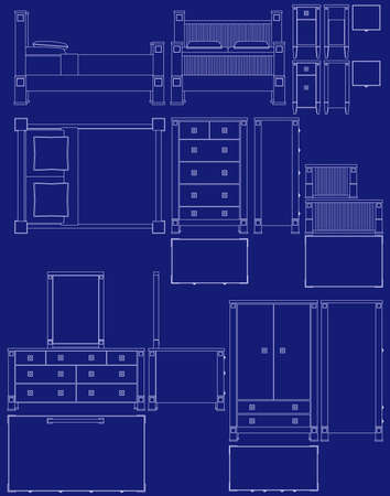 Blueprint bedroom furniture illustrations Vector