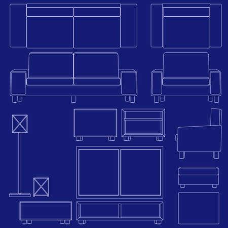 Blueprint living room furniture Illustration