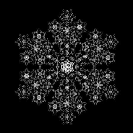 smaller: Snowflake made of smaller flakes - black Illustration