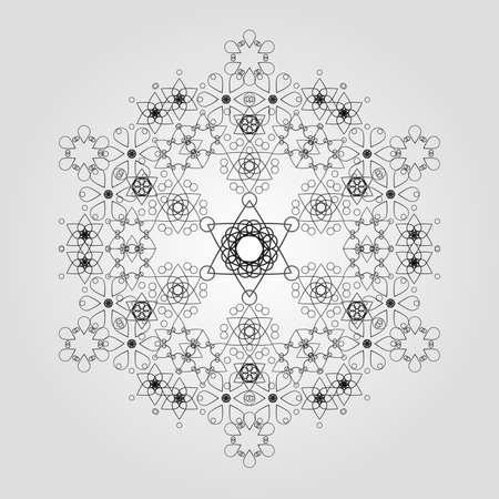 smaller: Snowflake made of smaller flakes - white