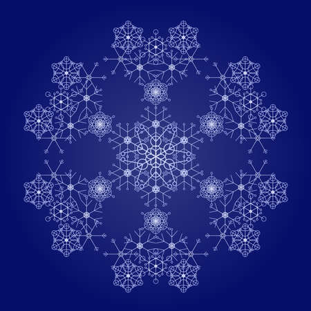 deep blue: Snowflake made of smaller flakes - deep blue