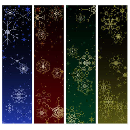 Four Winter snowflake backgrounds