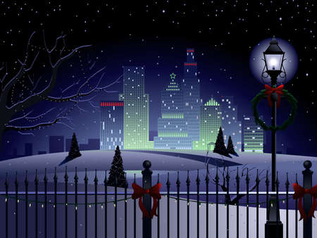 lampposts: Christmas urban landscape