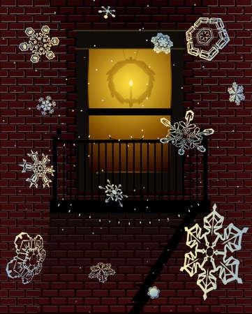 escape: Holiday fire escape Illustration