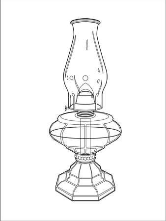 Hurricane lamp line art Stock Vector - 5844627