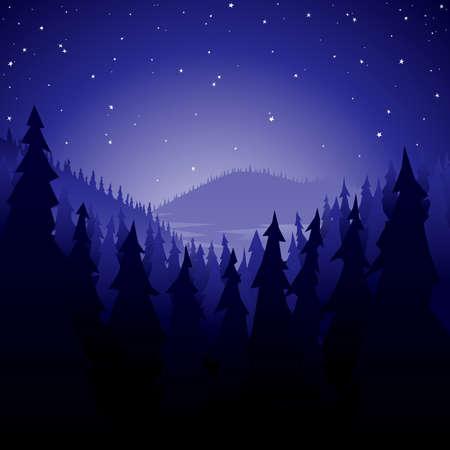 夜のマツ森林  イラスト・ベクター素材