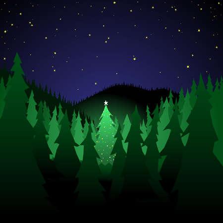 クリスマス ツリーとフォレスト  イラスト・ベクター素材