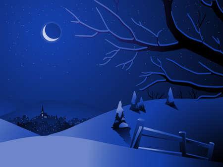 Winter landscape with village Illustration