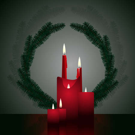 Pine wreath with candles Vector
