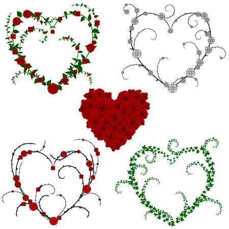 Flower and vine hearts