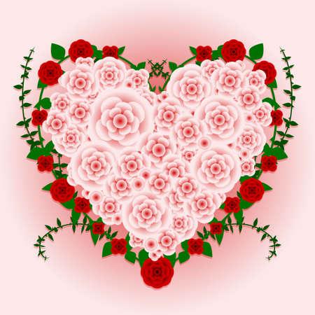 Heart rose bouquet Vector