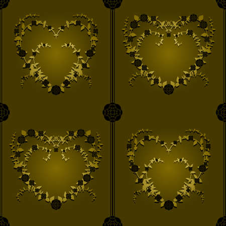 Gold and black hearts seamless background Vector