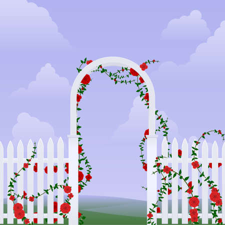 Arbor with roses Stock Illustratie