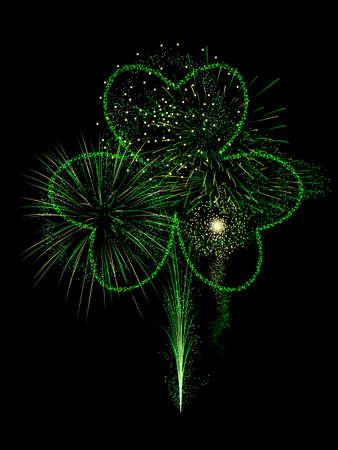 st pattys: St. Pattys fireworks display Illustration