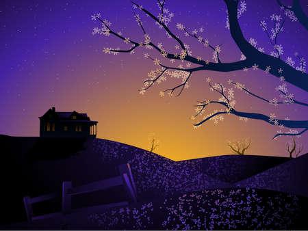 Spring sunrise house Иллюстрация