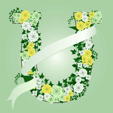 Floral horse shoe Иллюстрация