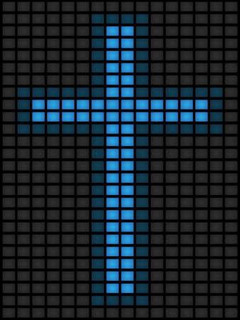 Kruis van blauwe schermen
