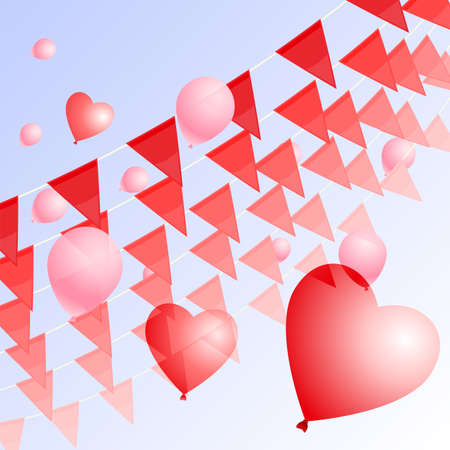 Red pennants and balloons