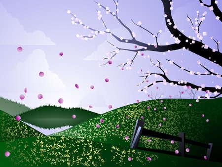 Spring flower landscape Illustration