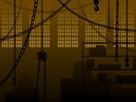 Fabriek of magazijn achtergrond Stock Illustratie