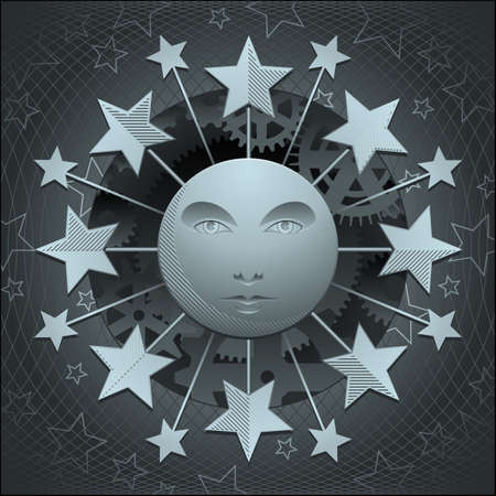 Silver moon and stars Ilustrace
