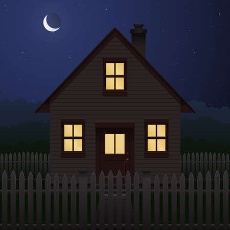 night: House at night  Illustration