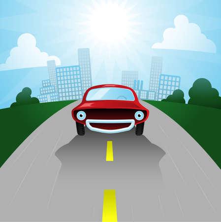 carro caricatura: Salir de la ciudad