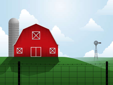 red barn: Farm illustration